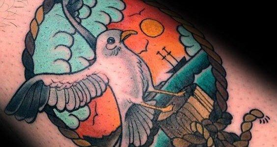 tatuaje old school de gaviota